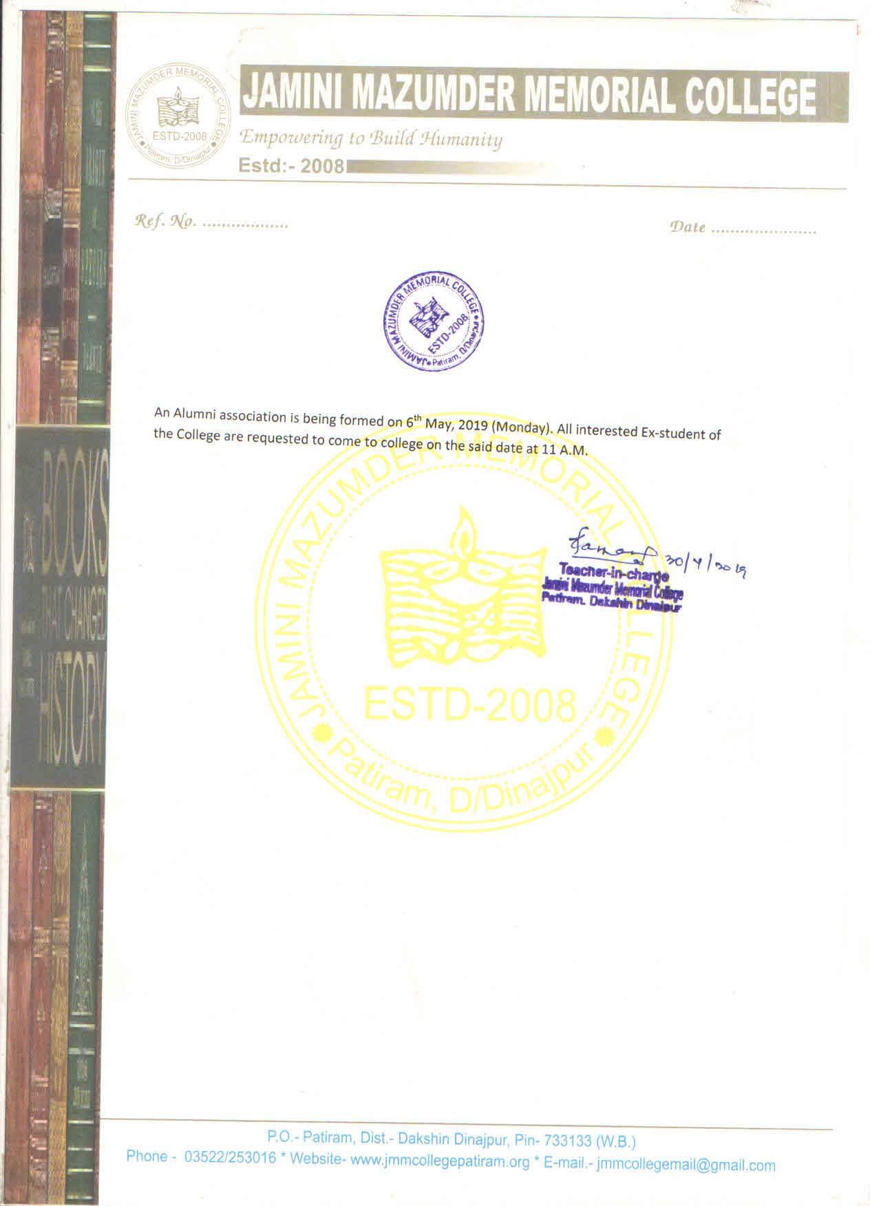 Jamini Majumder Memorial College, Patiram » Notice Types » General